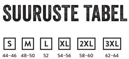 dimex-suuruste-tabel